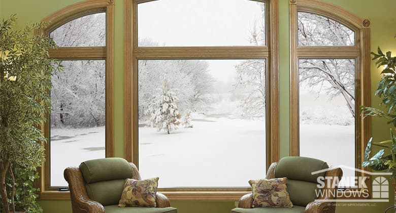 Viewing a winter's day from inside a home through Stanek windows