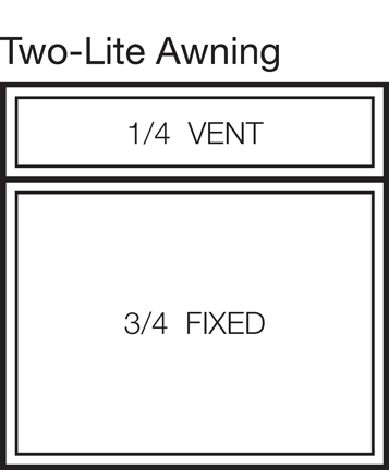 Two-Lite Awning Window Stacked 25/75