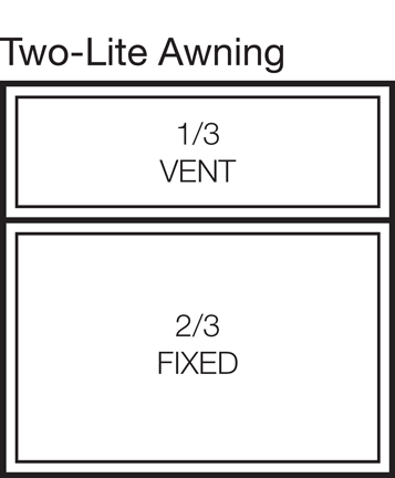 Two-Lite Awning Window Stacked 33/66