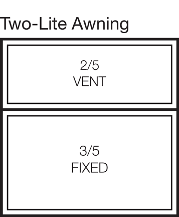 Two-Lite Awning Window Stacked 40/60