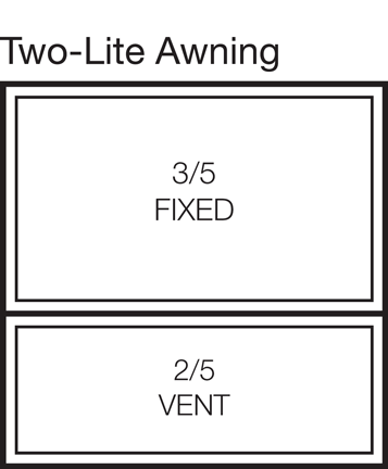 Two-Lite Awning Window Stacked 60/40