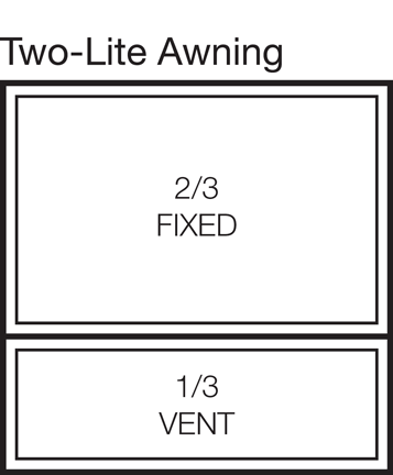 Two-Lite Awning Window Stacked 66/33