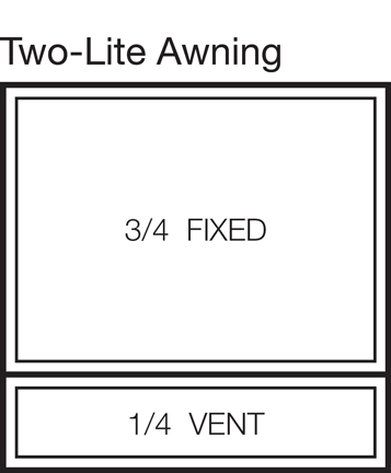 Two-Lite Awning Window Stacked 75/25
