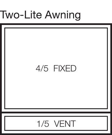 Two-Lite Awning Window Stacked 80/20