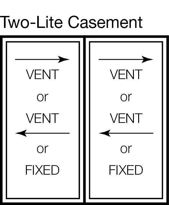 Two-Lite Casement Window Horizontal