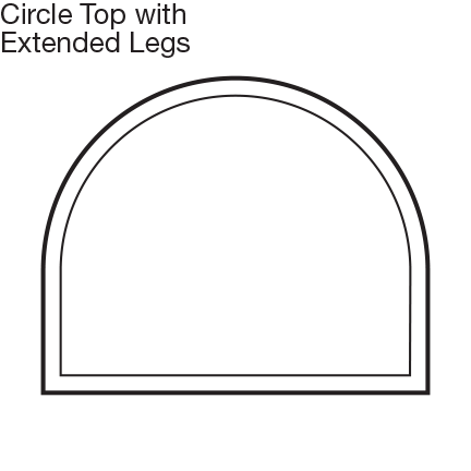 Custom Shape Circle Top Window with Ext Legs